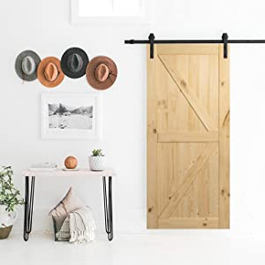 Belleze 014-HG-BD3684 Unfinished Knotty Pine Single Pre Drilled (3 7 ft) Interior 36in x 84in Sliding Barn Wood Door, Arrow