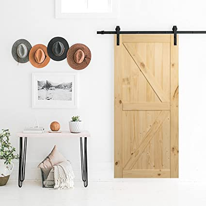 amazon com belleze 36in x 84in sliding barn wood door unfinishedamazon com belleze 36in x 84in sliding barn wood door unfinished knotty pine single door only pre drilled (3 ft x 7 ft) interior, natural home improvement