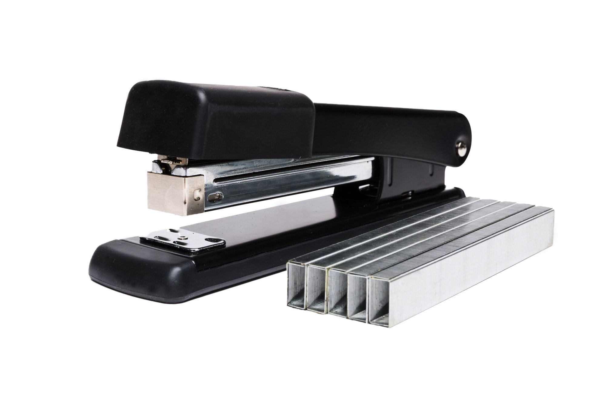 Classic Black Stapler, 25 Sheet Capacity, Jam Free Design with full Size 210 staple storage, Black Metal, 3 Pack with 6000 1/4'' staples included by Blue Summit Supplies (Image #2)