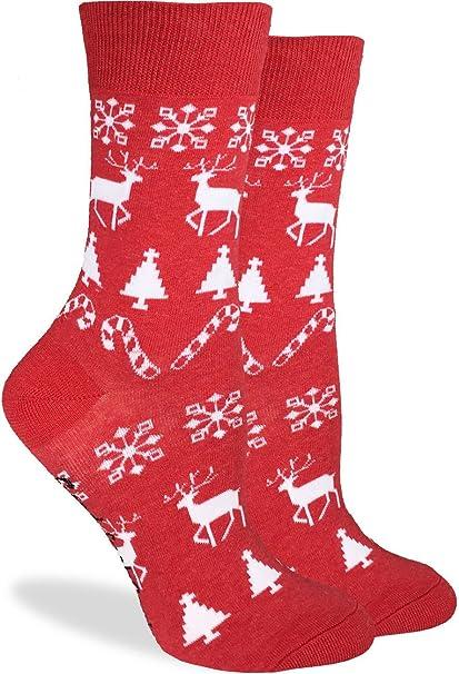 b4a56941e42 Amazon.com  Good Luck Sock Women s Christmas Holiday Crew Socks ...