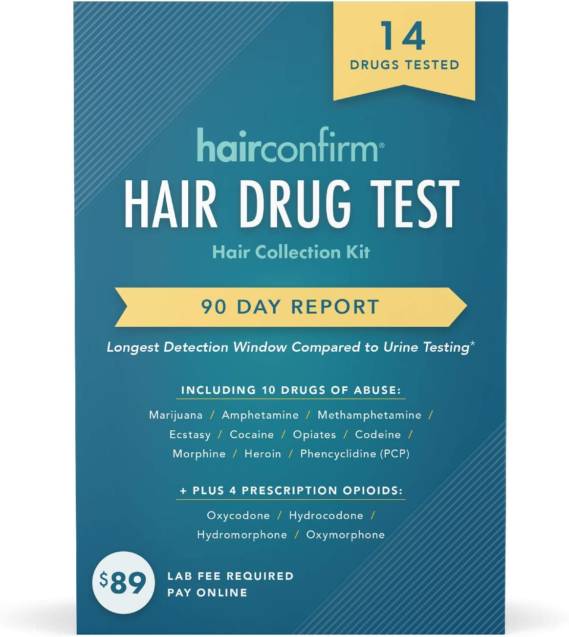 HairConfirm 14 Panel Hair Drug Test Collection Kit Only, 90 Days Detection Additional Lab Fee Required (14 Drugs Tested)