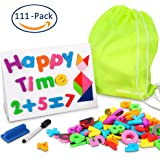 Magnetic Letters and Numbers with Magnetic Dry-Erase Board , Newisland Educational Toys Alphabet Magnets for Preschool Learning with Reusable Storage Bag -111 Pieces