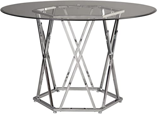 Signature Design by Ashley Madanere Dining Room Table, Chrome Finish