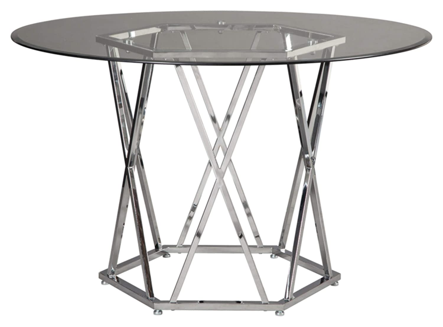 Signature Design By Ashley – Madanere Round Dining Room Table – Contemporary Style – Chrome Finish