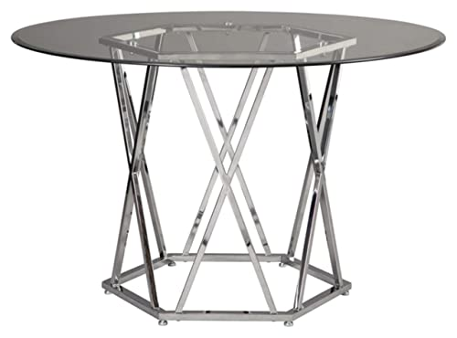 Signature Design By Ashley – Madanere Round Dining Room Table – Contemporary Style – Glass Top Chrome Finish