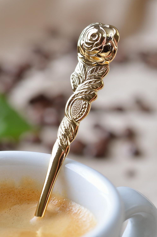 GR/ÄWE/® Cucchiaini da caff/è con intarsio a decorazione rosale dorati
