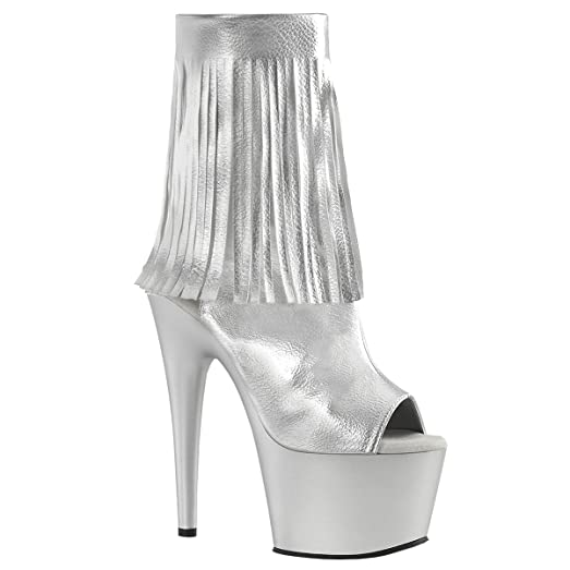 Womens Fringe Booties Silver Open Toe Shoes Platform Ankle Boots 7 Inch  Heels Size  6 d84cec07f2