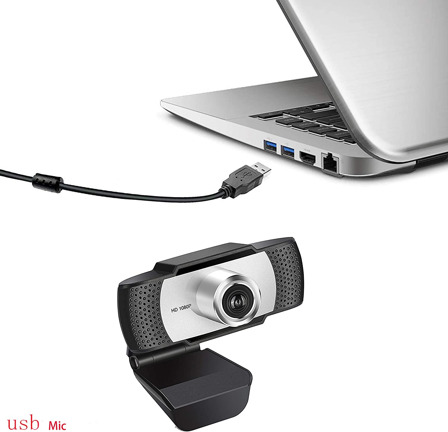 USB Computer Camera for Mac Xbox YouTube Skype OBS Webcam for Gaming Conferencing Laptop or Desktop Webcam Free-Driver Installation Fast Autofocus Black 1080P HD Webcam with Dual Microphones
