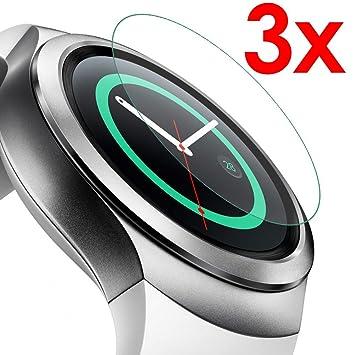 GEAR S2 - set 3x - Protector Pantalla de vidrio templado HD para smartwatch SAMSUNG GEAR S2 Wi-Fi 4G LTE Sim - dureza 9H bisel 2,5D - KIT DE LIMPIEZA ...