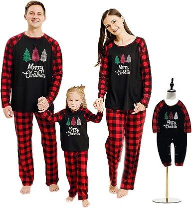 Haokaini Pijamas de Navidad Ropa de Dormir a Juego con la Familia Camisón de Navidad para bebés, niños, Padres