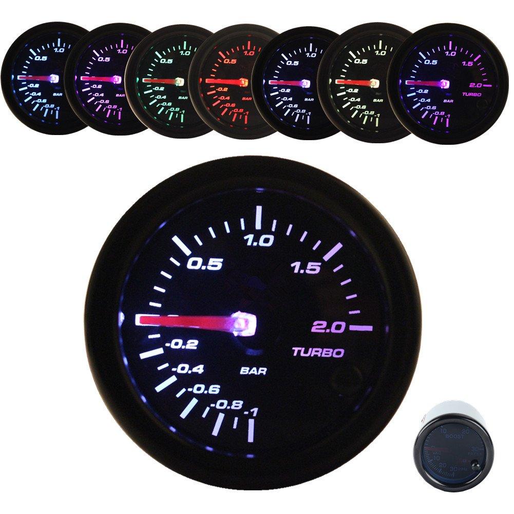 JUDING Universal Black 7 colors LED 2' 52MM Gauges Smoke Oil pressure 0-7 BAR Meter W/Sensor