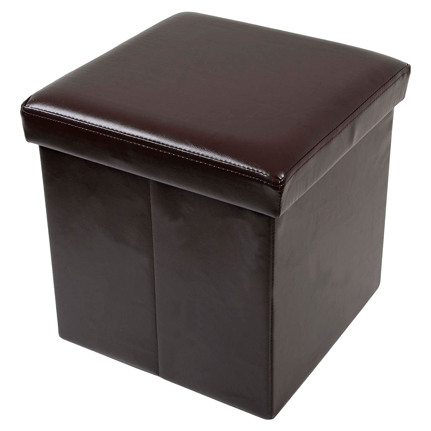XS Stock Folding Storage Stool With Lid And Ivory Faux Leather 38cm Cube  Pouffe Seat Part 57