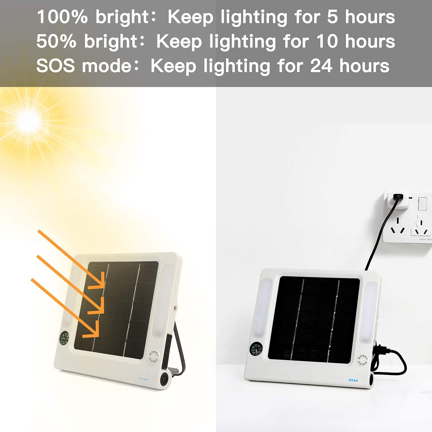 Suitable for Camping,Tent,Hiking Solar Camping Light 5W 250lm,Solar Phone Charger,USB Connector-3 Working Mode