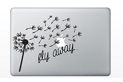 b9c738f6eecd5 Fly Away Blowing Dandelion Wish Quote (BLACK) Vinyl Decal Stickers for MacBook  Laptop Car