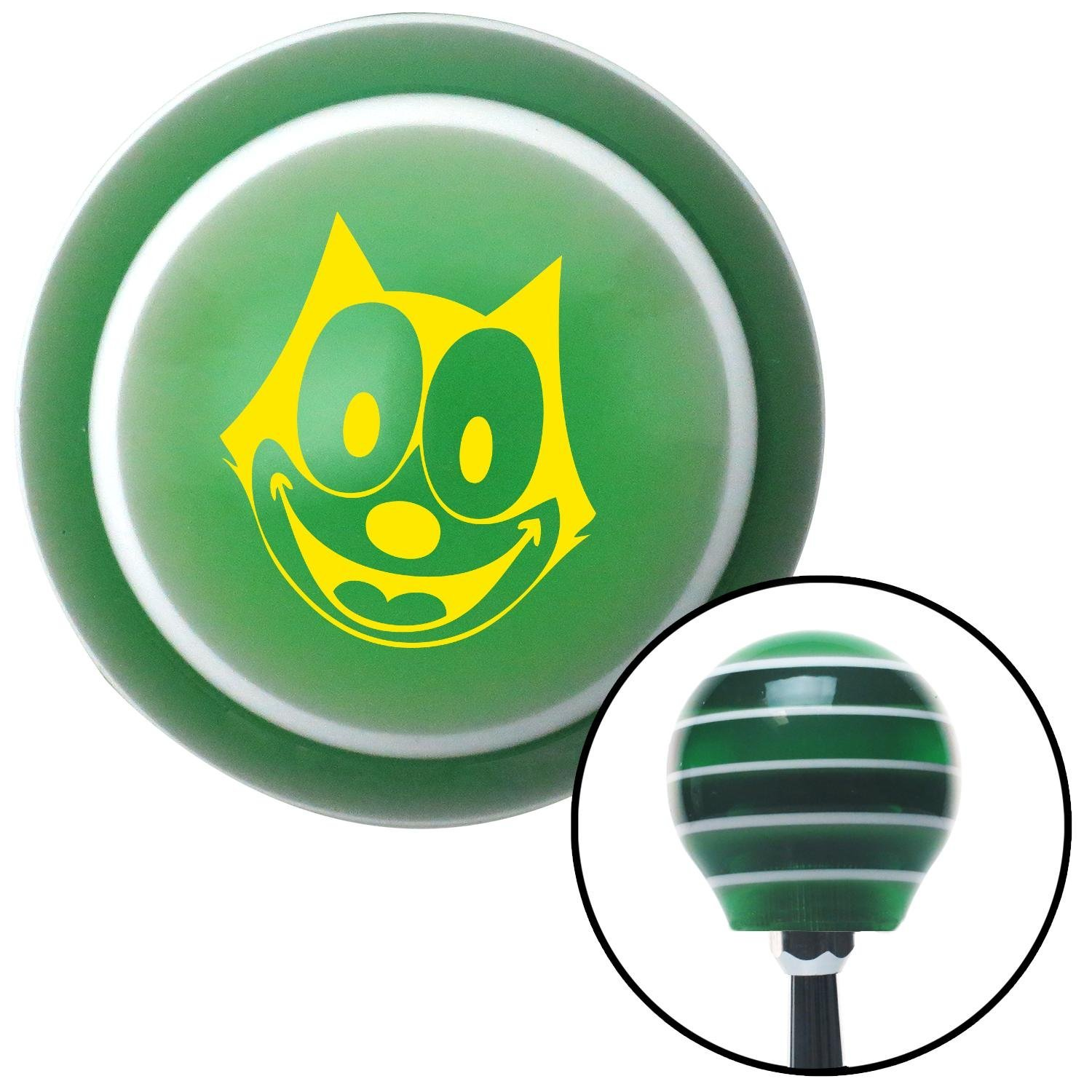 American Shifter 125973 Green Stripe Shift Knob with M16 x 1.5 Insert Yellow Felix The Cat Smiling