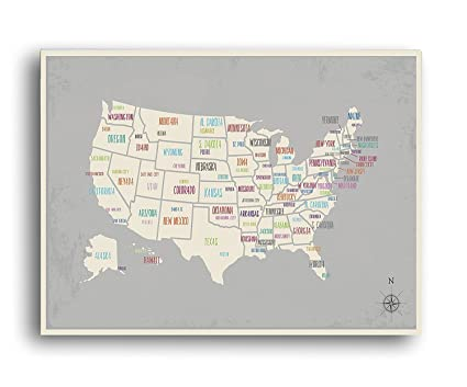 Amazon.com: USA Wall Map Art Print, 12x18 Inch Print,Kid\'s ...