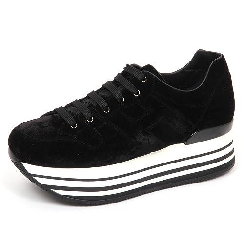 E4798 sneaker donna velvet HOGAN H283 MAXI 222 scarpe nero velluto shoe woman