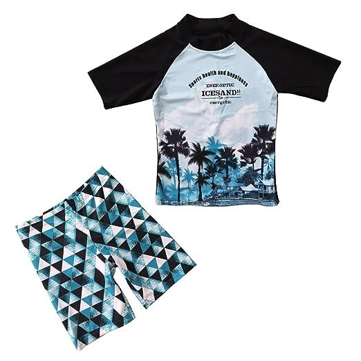 2e3c131557 Little Boy Swimsuits Shark Swim Wear 2 Piece Sun Protection Suits Navy 2-3  Years