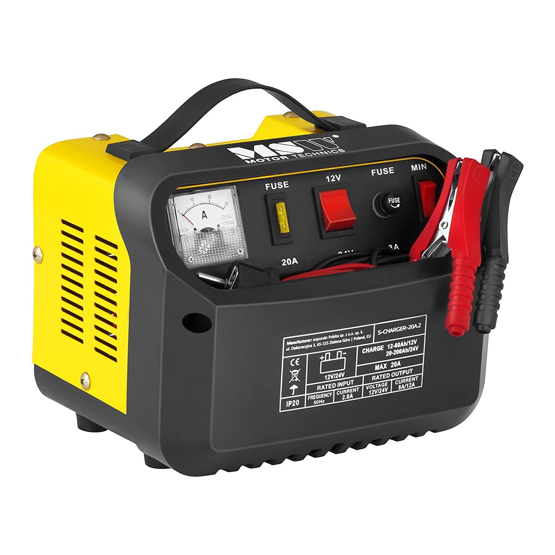 MSW Chargeur de Batterie Auto Aide au Dé marrage pour la Voiture S-CHARGER-30A.2 (12/24 Volts, 15/20 ampè res, accumulateur au Plomb) 15/20 ampères MSW Motor Technics