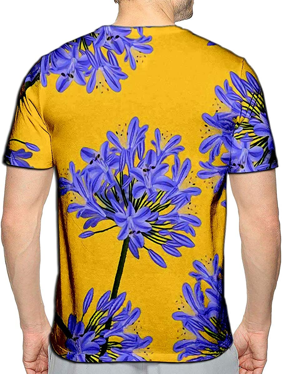 3D Printed T-Shirts Blue Purple Agapanthus On Yellow Short Sleeve Tops Tees