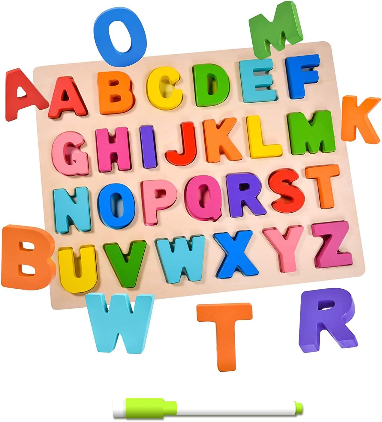 Wooden Puzzles for Toddlers, Wooden Alphabet Puzzles for Toddlers, ABC Wooden Puzzles, Educational Learning Puzzle for Kids Girls and Boys Gifts (Alphabet): Toys & Games