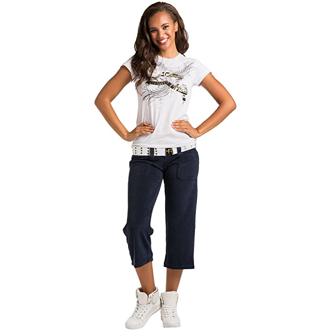 ed1cb697e6 Sweet Vibes Junior Womens Stretch Terry Gaucho Pants Grommet Belted Size S  Blue