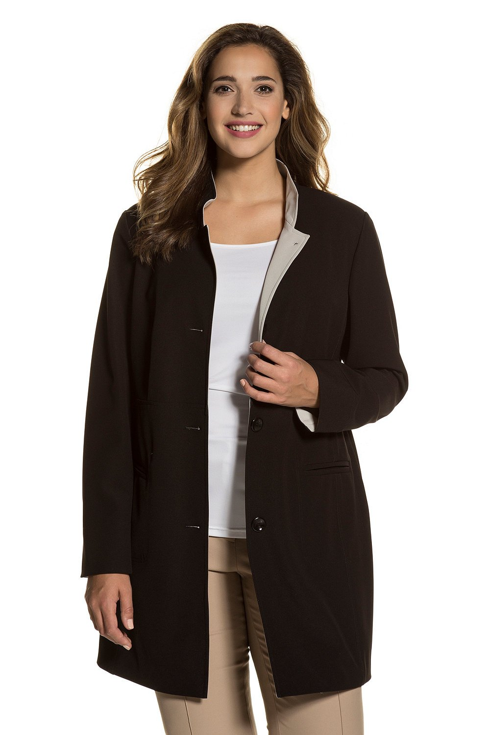Ulla Popken Women's Plus Size Double Face Long Jacket Black 16/18 712053 10 by Ulla Popken