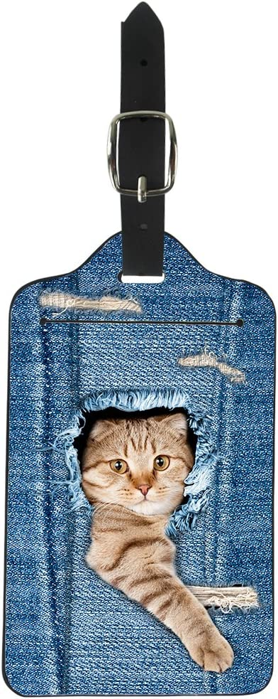 Set of 2 Blue Upetstory PU Leather Luggage Tags Personalized Cat Print Suitcase Labels Bag Travel Accessories