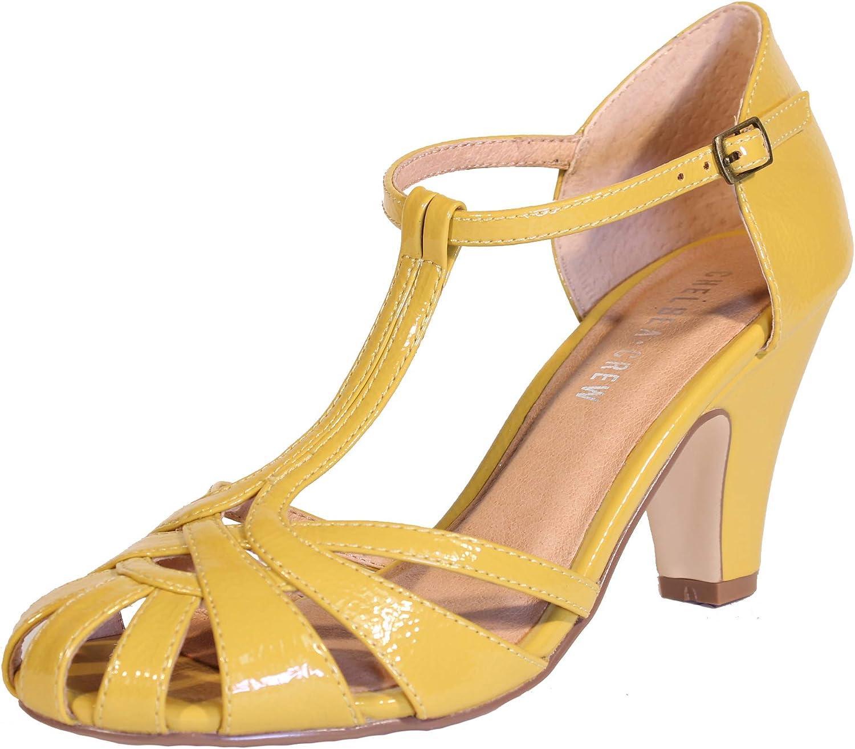 1950s Shoe Styles: Heels, Flats, Sandals, Saddle Shoes Chelsea Crew Sergi Womens T-Strap Patent Leather Heels $75.00 AT vintagedancer.com