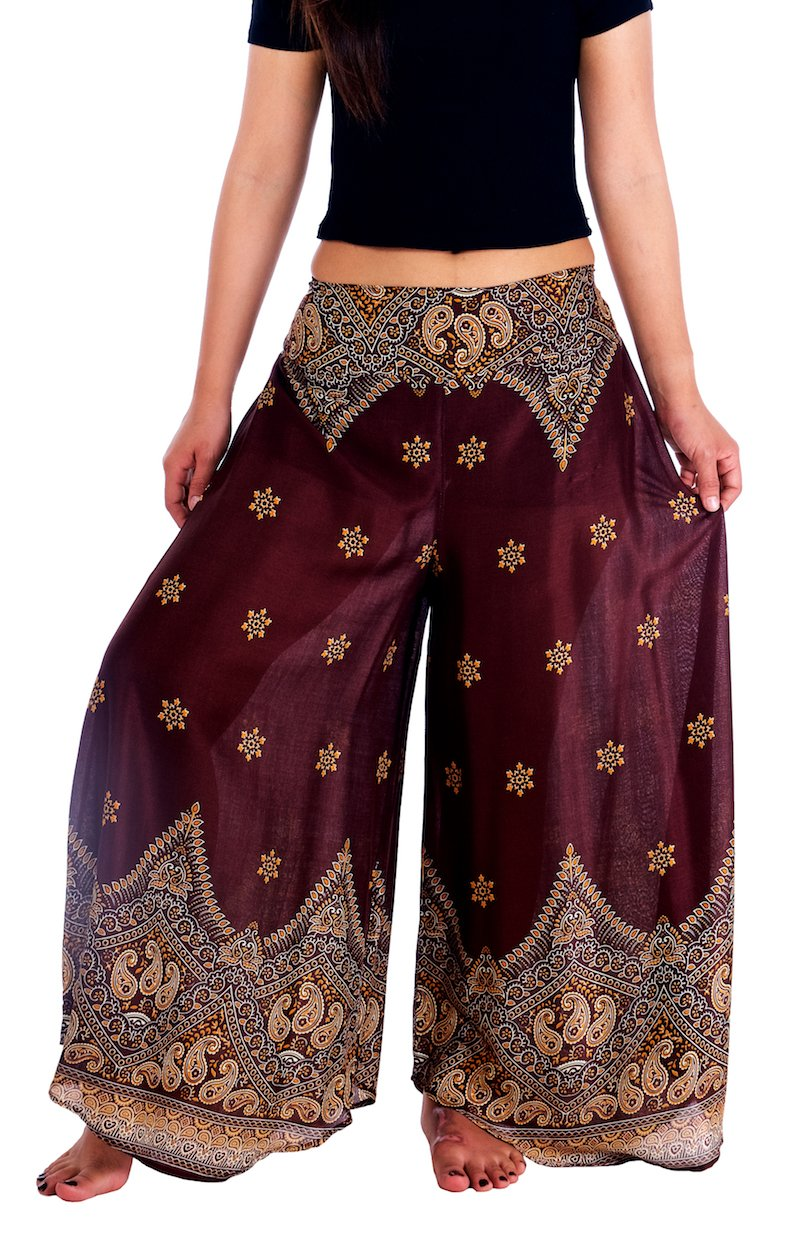 Lannaclothesdesign Womens Lounge Palazzo Pants Wide Legs S M L XL Sizes (M, Brown Peacock Flower)