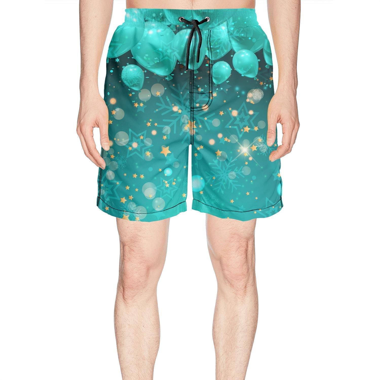 Juliuse Marthar Men's Camo Wedding Balloons Swim Trunks Quick Dry Beach Board Shorts
