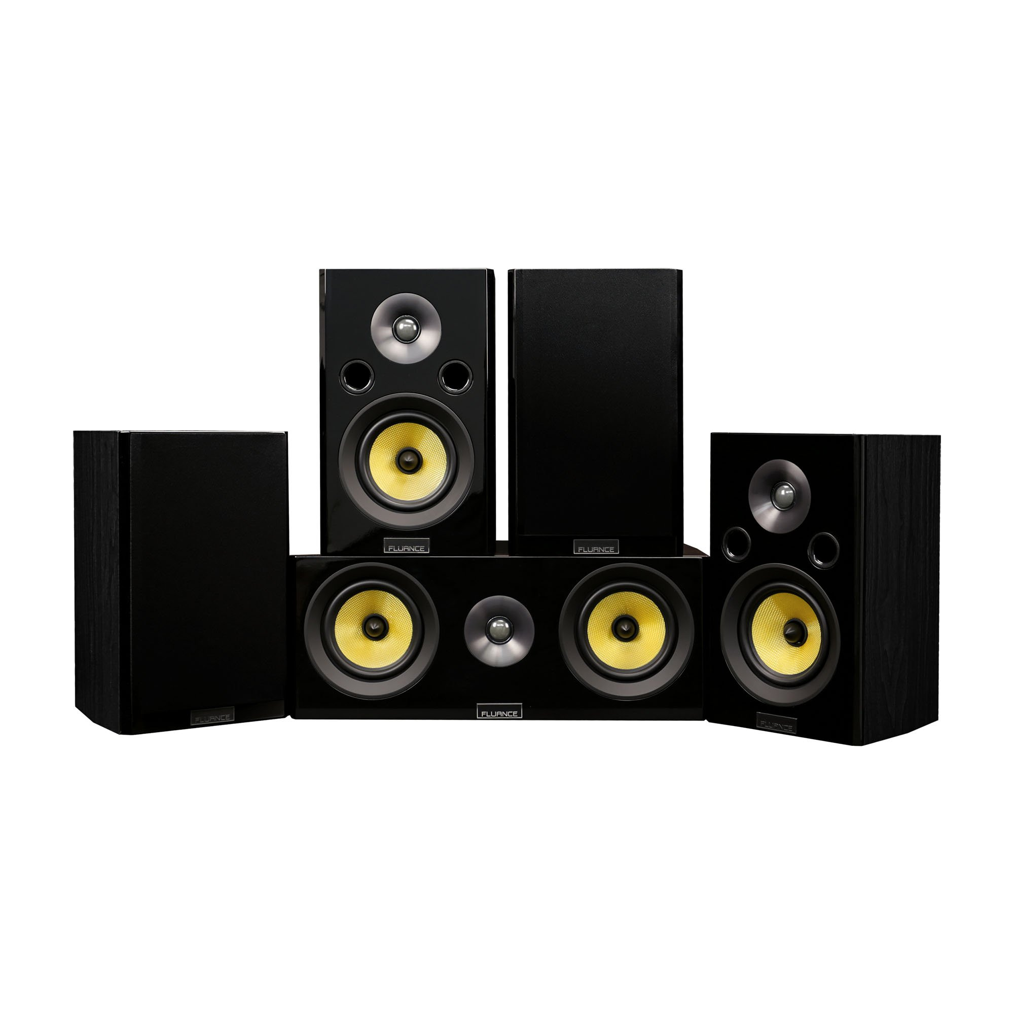 Fluance Signature Series Compact Surround Sound Home Theater 5.0 Channel Speaker System Including Two-Way Bookshelf, Center Channel, and Rear Surround Speakers - Black Ash (HF50BC)
