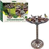 GardenKraft 23940 Plastic Bronze Metal Effect Clam Shell Design Bird Bath with Stones