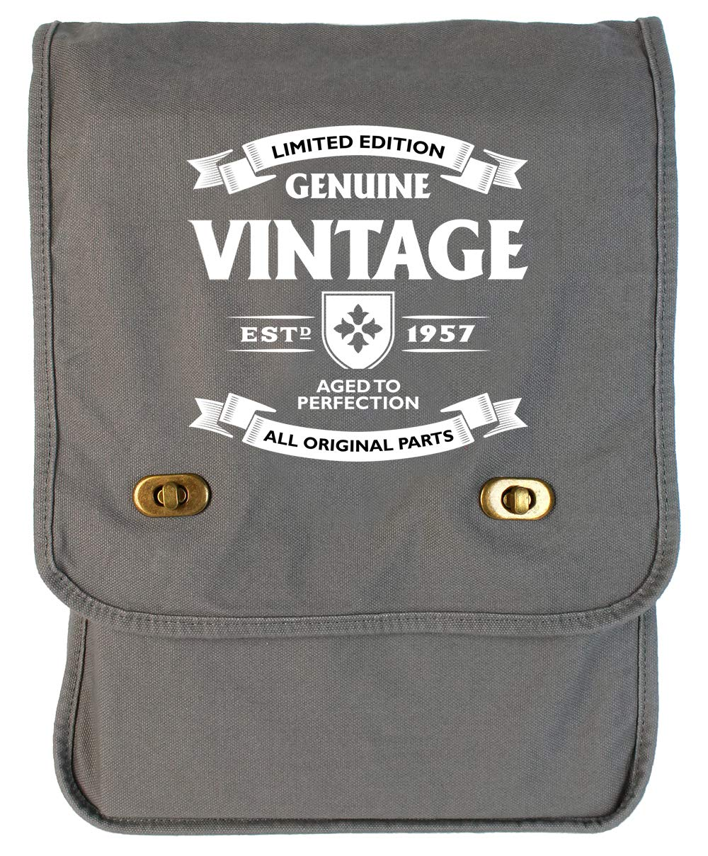 Tenacitee Aged to Perfection 1957 Grey Brushed Canvas Messenger Bag