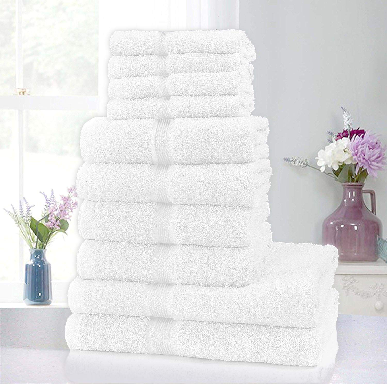 70x120cm 50x80cm Bath 4 pour les mains et 2/serviettes de bain tr/ès absorbantes. Ensemble de 10 serviette en coton pur Clicktostyle Silver 30x30cm Hand 4 pour le/visage Face