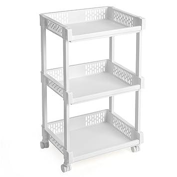 Wunderbar SONGMICS Rollwagen Aus Kunststoff Allzweckwagen Mit Rollen Für Küche Büro  Bad Weiß Mit 3 Etagen 61