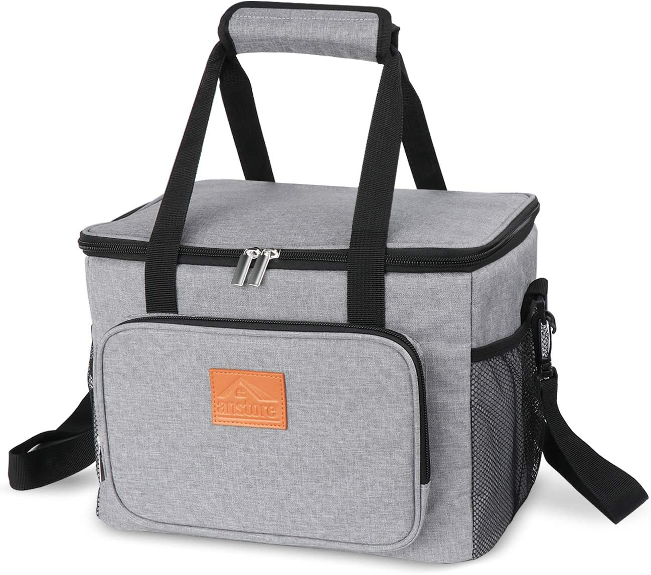 Lemonfilter Insulated Lunch Bag for Women & Men, Leakproof Thermal Reusable Lunch Box for School Office Picnic Hiking Beach Lunch Bag Cooler with Adjustable Shoulder Strap (Grey)