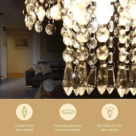 YISSVIC Lámpara Araña de Techo de Cristal Luces de Techo LED inoxidable Lámpara de Techo de Cristal K9 para Recibidor, Barra, Cocina, Comedor, ...