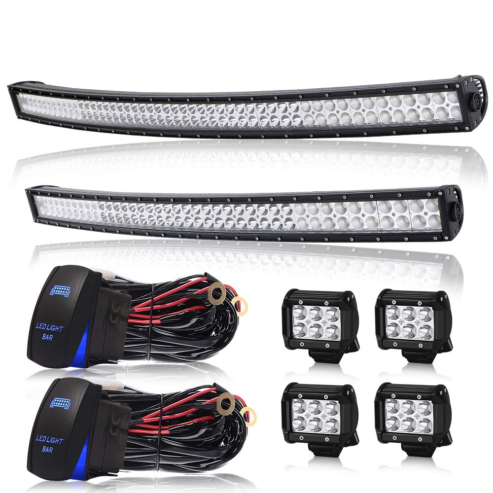 """Led Light Bar AUSI 52"""" Inch Curved 300W LED Work Light Spot Flood Combo Off Road Lights Driving Lights + 40/42"""" 240W Curved Lights Bar +4PCS 4"""" Led Lights Cube Pods For Jeep SUV Truck Boat Cars Lamps"""