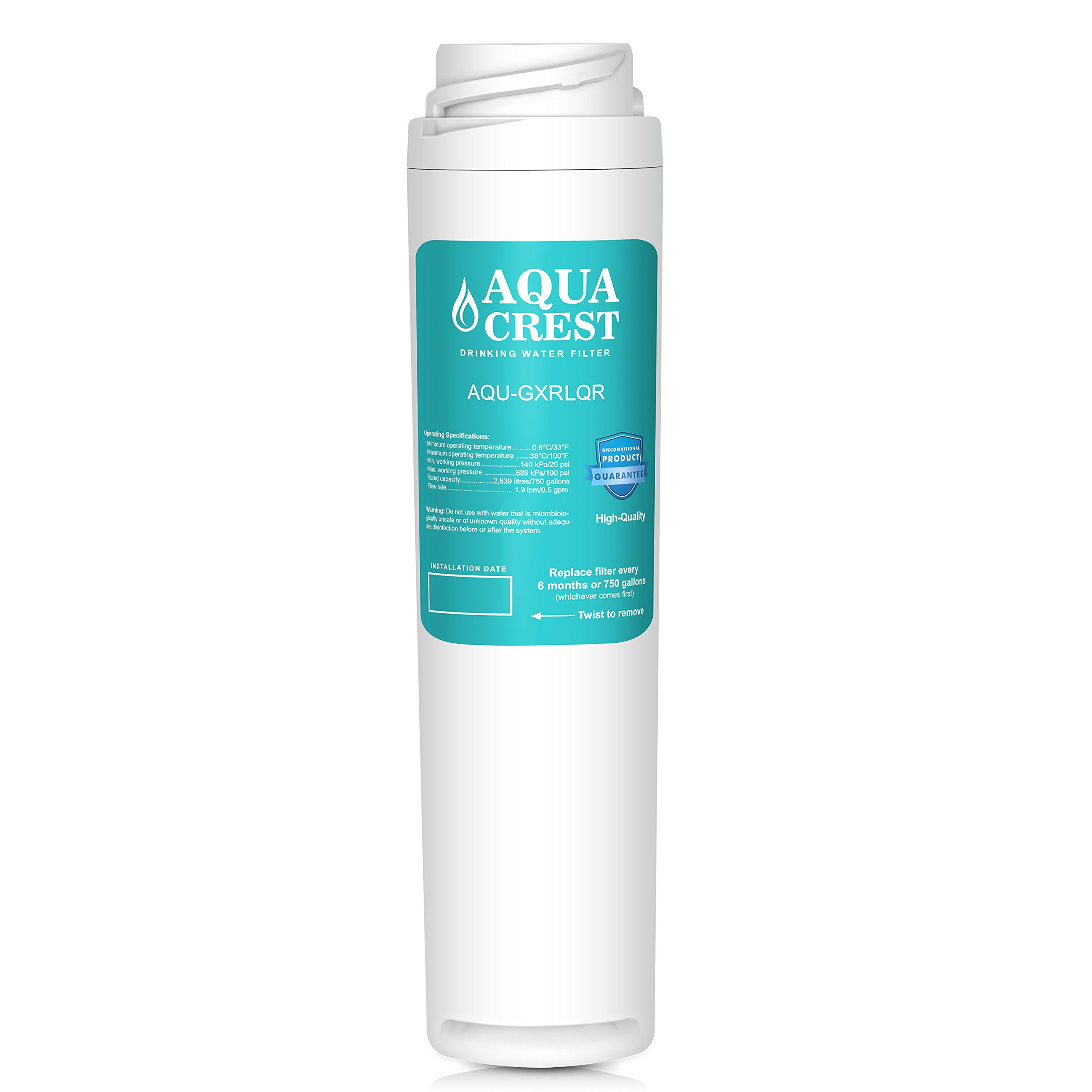 AQUACREST GXRLQR Replacement Water Filter, Compatible with GE SmartWater Twist Lock In-Line GXRLQR Water Filter