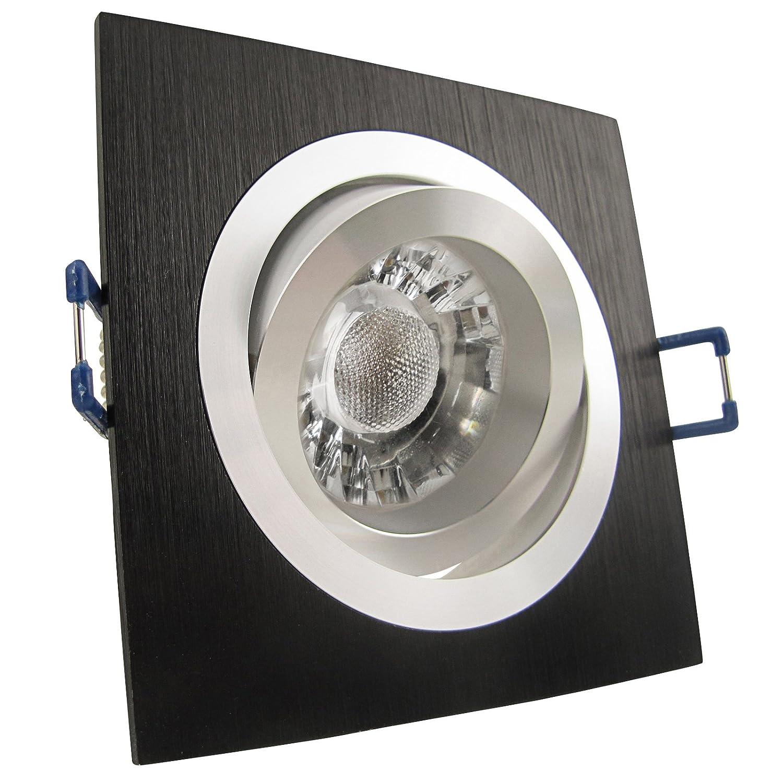 8er Set (3-8er Sets) Einbaustrahler NOBLE S1 Schwarz Aluminium; 230V; COB LED 3W = 40W; Neutral-Weiß; schwenkbar; drehbar; Einbauleuchte Einbauspot Downlight