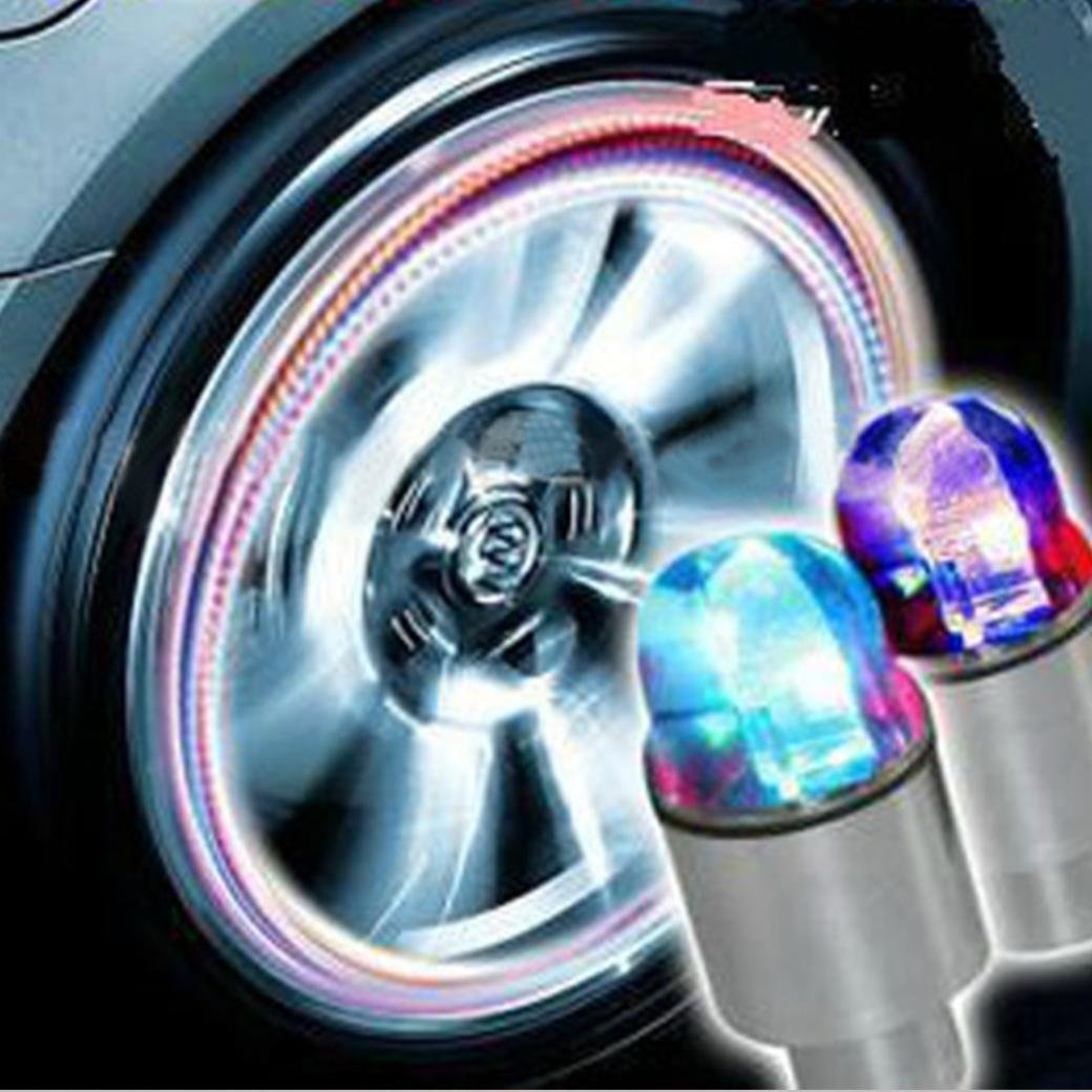 Chezaa LED Light Bar,Neon Blue Strobe LED Auto Accessories Bike Supplies Tire Valve Caps for Cars (Multicolor)