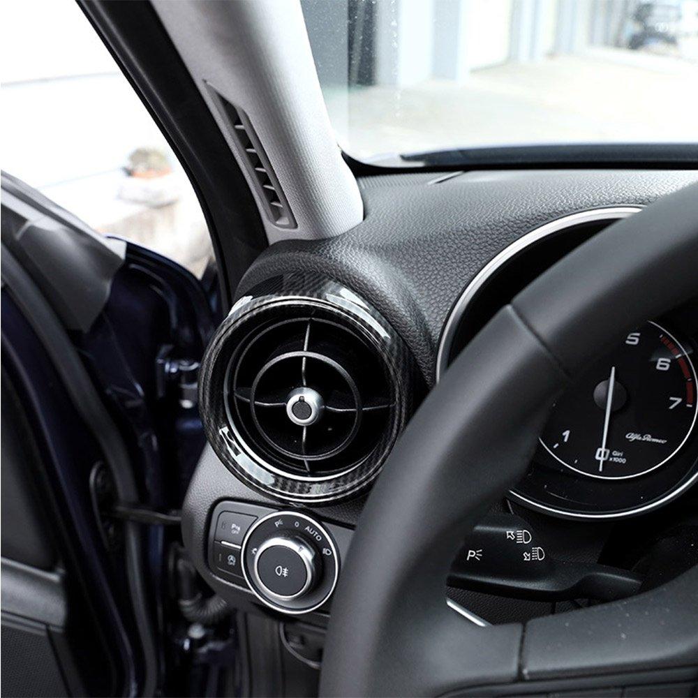 Carbon Style f/ür Giulia 2017/2018/ABS-Kunststoff Front Seite Klimaanlage Cover Rahmen Rand 2