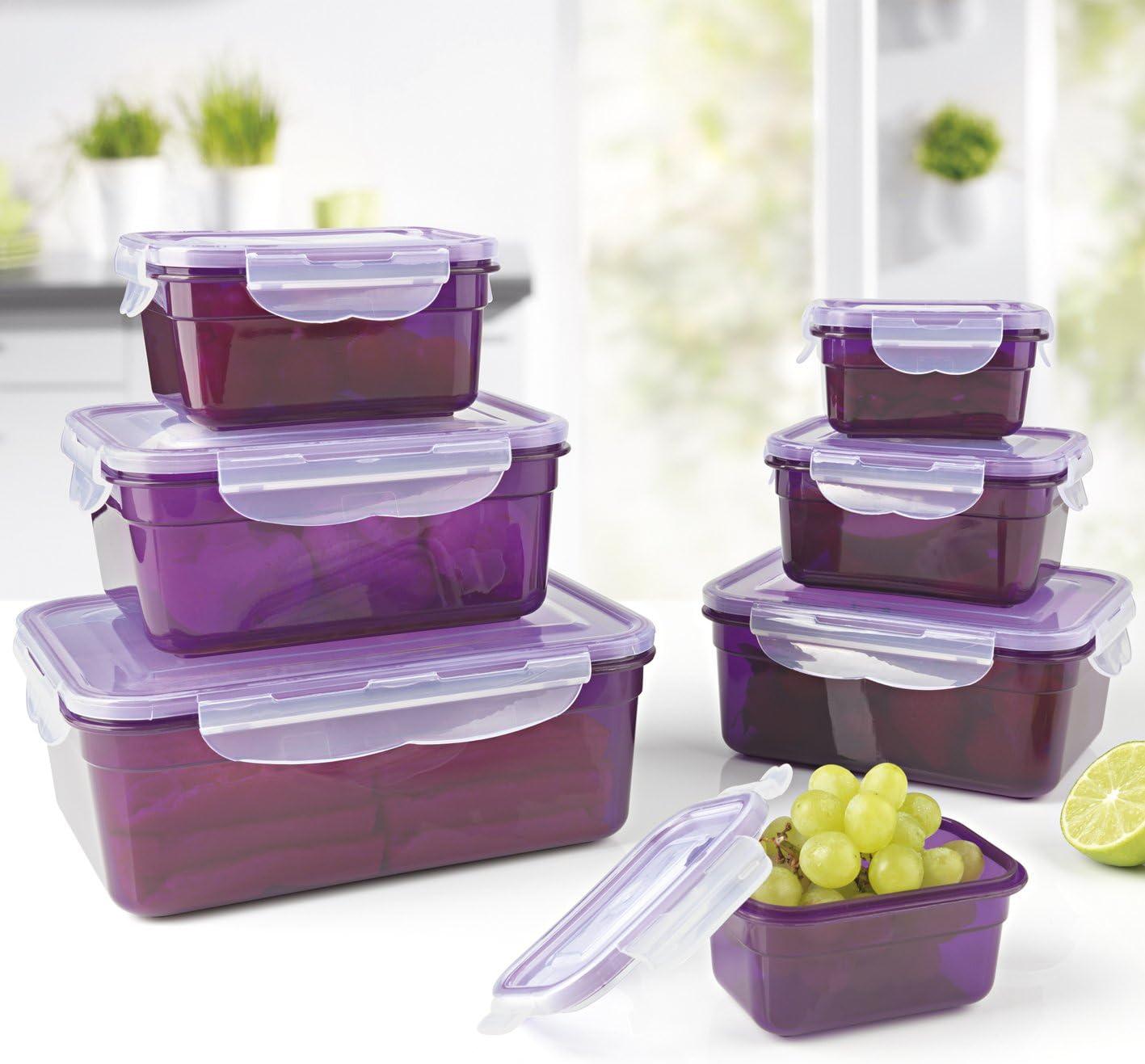 GOURMETmaxx Set de contenedores de Alimentos de Vidrio, Incluyendo la Tapa | Cierre cuádruple y Sello de Silicona conservación del Aroma de la Comida (BPA Libre, Set de 7 - Lavanda)