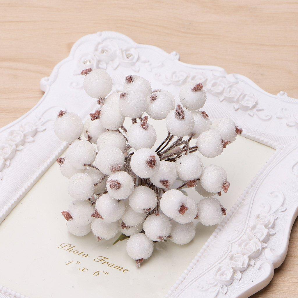 Kofun Xmas Artificial Flower 40 Pcs Mini Holly Christmas Decorative Frosted Fruit Berry Gold