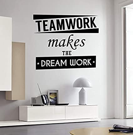 amazon com anewdecals wall vinyl decal quote teamwork makes theimage unavailable