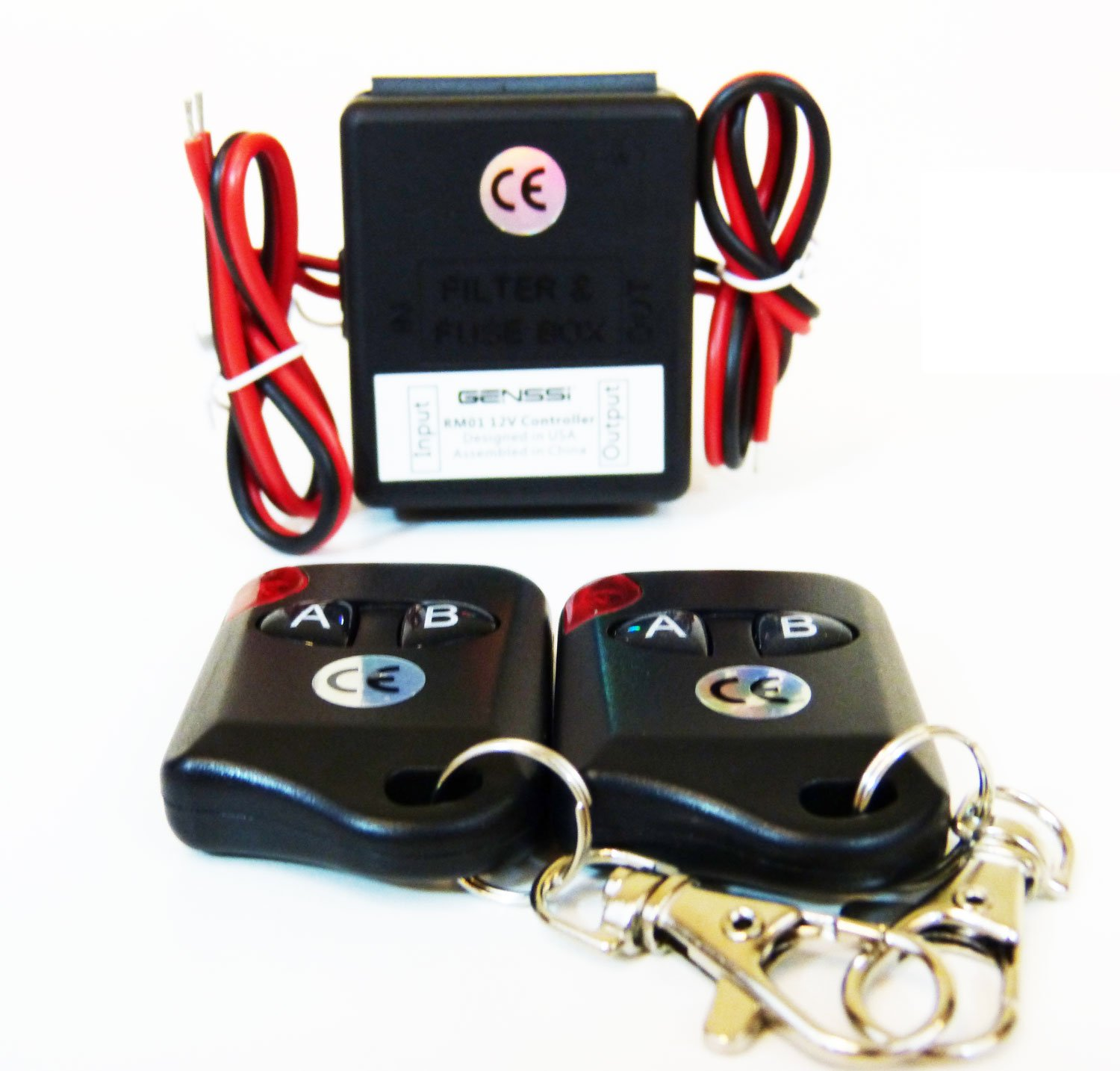 GENSSI 12V Wireless On/Off Transmitter Controller 2 Remotes (1 Channel 2 remote) RM01