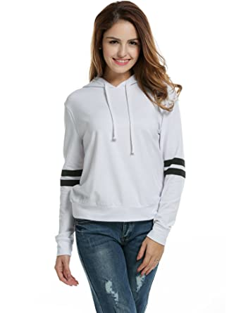 Zeagoo Women Pullover Hoodie Striped Long Sleeve Casual Sweatshirt ...