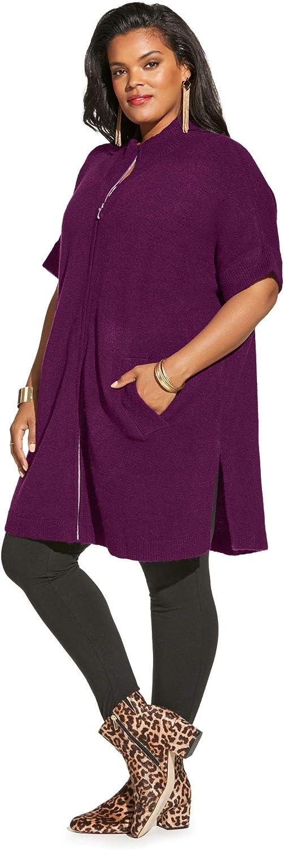 Roamans Womens Plus Size Soft Luxe Zip-Front Cardigan