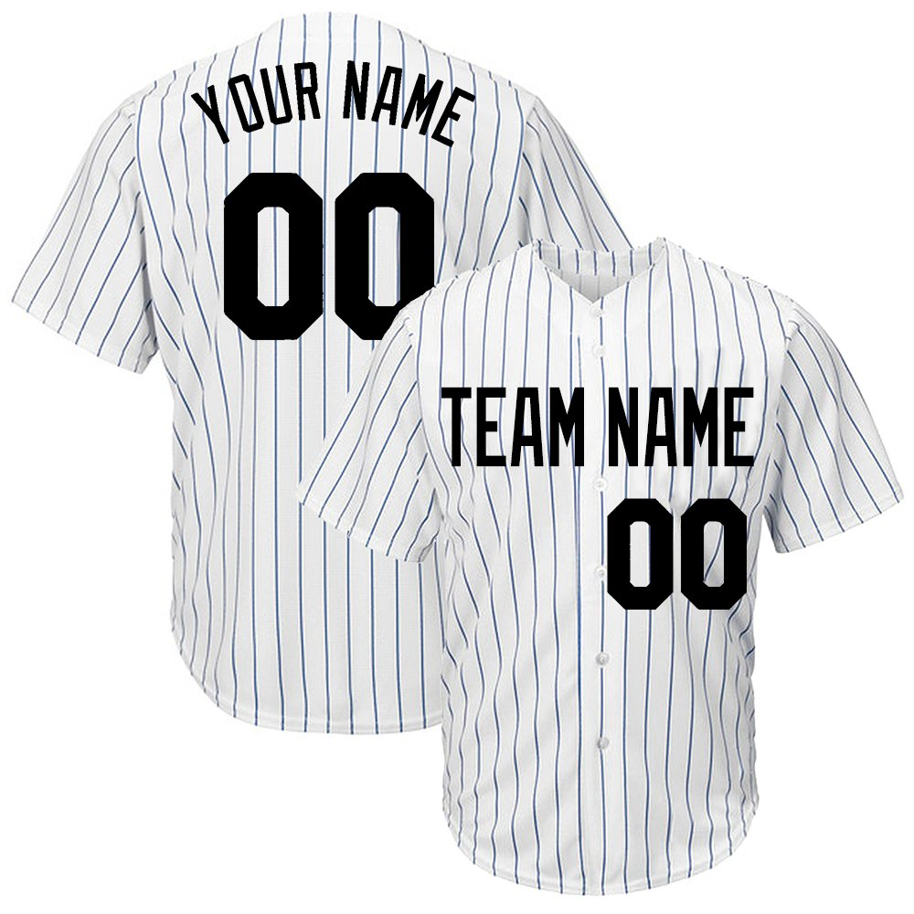 DEHUI Customized Men's White Pinstriped Baseball Jersey with Sewn Team Name Player Name and Numbers,Royal-Black Size L by DEHUI